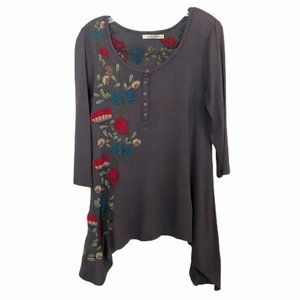 Caite Embroidered  Floral High Low Tunic Top